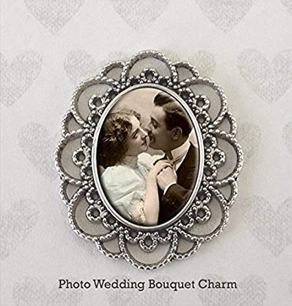 Amazoncom Bridal Wedding Bouquet Photo Charm Vintage Look Silver