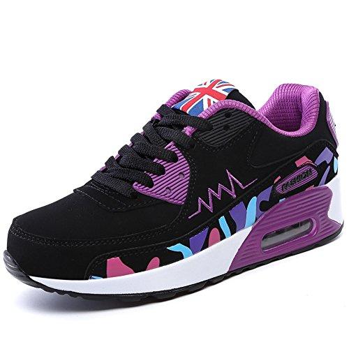 Chica con Viaje para Deportes Zapatillas Impactos Zapatos Aabsorción Correr Zapatos Violeta y de de Running para Padgene Amortiguación de de Aire FHt60nqF8