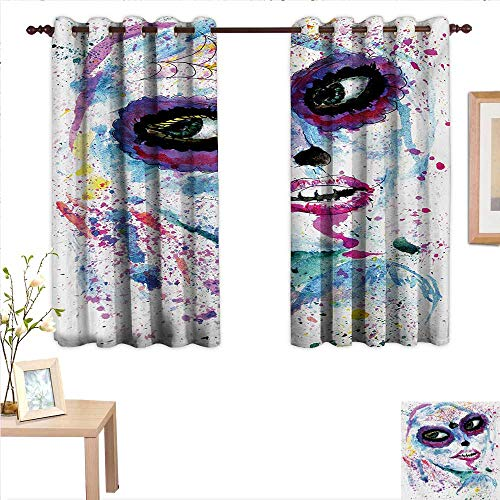 Girls Customized Curtains Grunge Halloween Lady with Sugar Skull Make Up Creepy Dead Face Gothic Woman Artsy 63