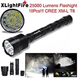 AMA(TM)® XLightFire 28000 Lumens 11x XM-L T6 LED Headlamp Flashlights 3W Headlight 600 Lumens Bright Water Resistance Headlight for Camping Hiking Home Lighting Emergency Darkness Use (25000 Lumens)