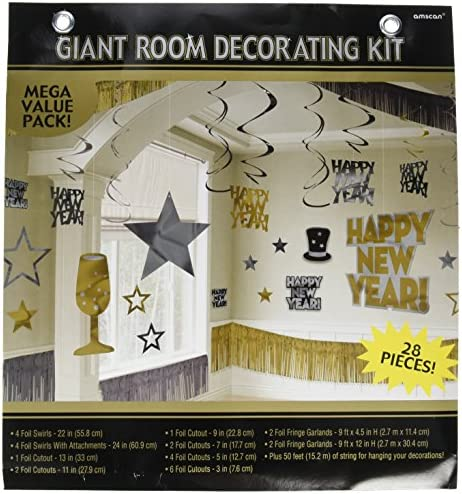 9 pcs amscan Glam Party Paper Decorating Kit Gold