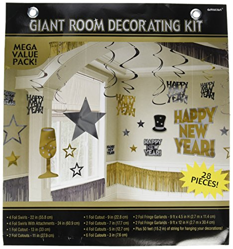 New Year Gold Foil Room Decorating Kit, 28 Ct. | Party Decoration -