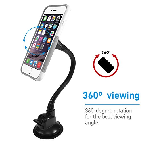 Macally Magnetic Windshield Car Phone Mount Holder with 12'' Long Arm & Super Strong Magnet for iPhone X 8 8 Plus 7 Plus 6s Plus 6 SE Samsung Galaxy S9 S9 Plus S8 Plus S8 Edge S7 S6 Note (MGRIPMAGXL) by Macally (Image #5)