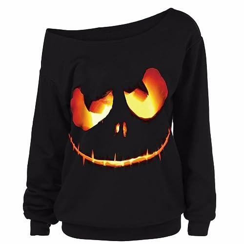OverDose blusas para mujer talla extra sin hombro diablo de calabaza de Halloween tapas pullover XL-XXXXXL