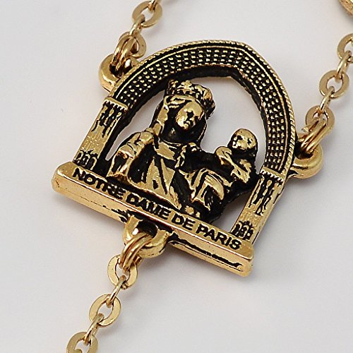Ghirelli Notre Dame de Paris Cathedral Rosary in Antique Gold Plated Finish