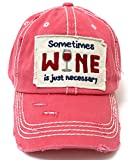 CAPS 'N VINTAGE Rose Pink Sometimes Wine is just Necessary Patch Embroidery Hat w/Wine Glass Monogram Back
