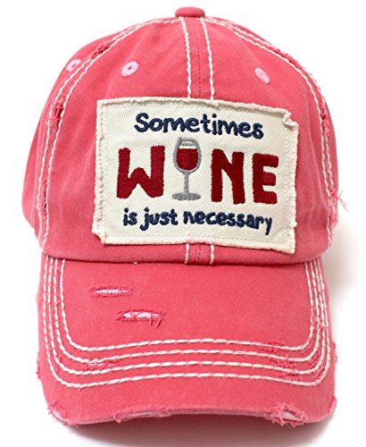 CAPS 'N VINTAGE Rose Pink Sometimes Wine is just Necessary Patch Embroidery Hat w/Wine Glass Monogram (Pink Rose Wine)