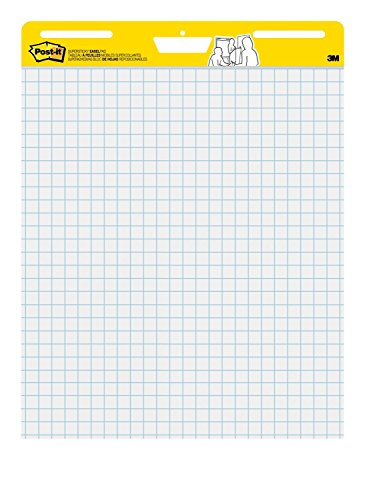 Recycled Self Stick Notes - Post-it Super Sticky Easel Pad, 25 x 30 Inches, 30 Sheets/Pad, 2 Pads (560), Large White Grid Premium Self Stick Flip Chart Paper, Super Sticking Power