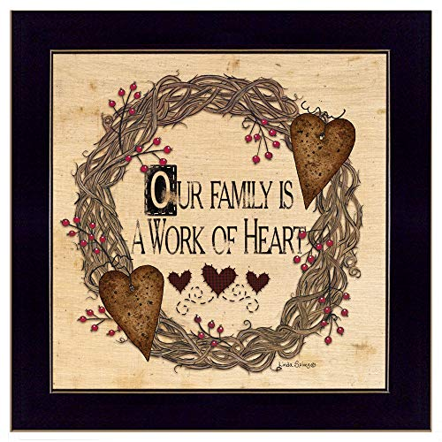 Trendy Decor4U Our Our Family is a Work of The Heart Linda Spivey Printed Wall Art, 14 Inch x 14 Inch, Black Frame - Linda Spivey Hearts
