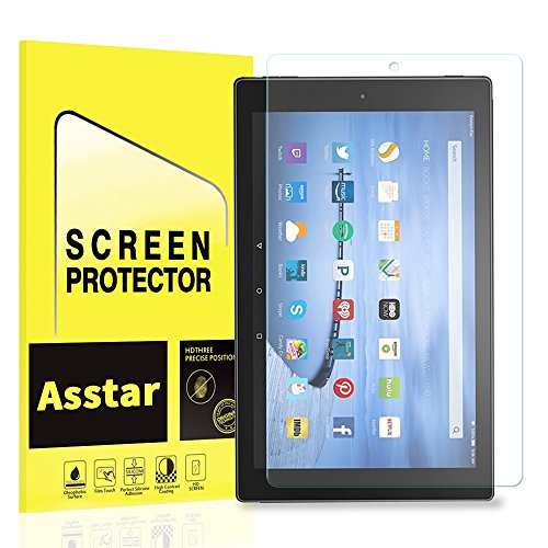 All-New Fire HD 10 Screen Protector, Asstar Tempered Glass Screen Protector for New Kindle Fire HD 10 Tablet (2017 Release) 9H Hardness Anti-Scratch Crystal Clear Bubble Free (1 - 2017 Glasses Cute