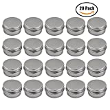 Md trade Small Aluminum Tin Jars Silver Round Cosmetic Sample Empty Container with Screw Cap for Lip Balm, Salve, Make Up, Eye Shadow Powder 20 Pack,30ml