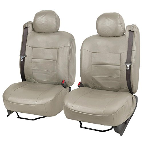 - Taupe Beige PU Leather Front Pair Seat Covers Luxury Leatherette for Built-in Seatbelt SUV Trucks