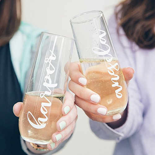 Custom Champagne Glasses for Bridesmaid Gifts or Bachelorette Parties