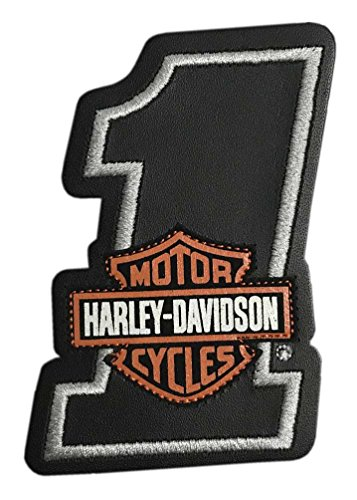 Harley-Davidson Bar & Shield #1 Leather Emblem Patch, 4 x 2.75 in. HDEML1002 (Davidson One Harley Patch)