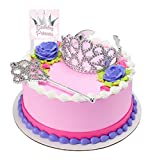 CakeSupplyShop Princess Crown Tiara and Wand Cake Topper Kit with Birthday Princess Plaque