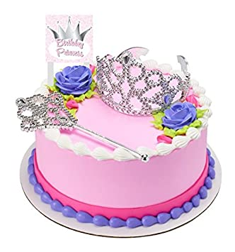 CakeSupplyShop Princess Crown Tiara And Wand Cake Topper Kit With