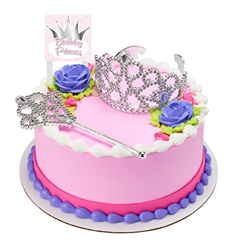 CakeSupplyShop Princess Crown Tiara And Wand Cake Topper Kit With Birthday Plaque Amazon Grocery Gourmet Food