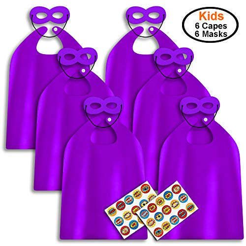 ADJOY Superhero Capes and Masks for Kids Birthday Party - DIY Dress Up Costumes - 6 Sets Pack (Purple)]()