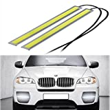 RioRand® 2 pcs Set Waterproof Aluminum High Power 6W 6000K Xenon Slim COB LED DRL Daylight Driving Daytime Running Light Lamp For Car SUV Sedan Coupe Vehicle (White (Silver case))