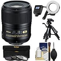 Nikon 60mm f/2.8G AF-S ED Micro-Nikkor Lens with Ringlight + Tripod + 3 Filters + Kit for D3200, D3300, D5200, D5300, D7000, D7100, D610, D800, D810, D4s DSLR Cameras