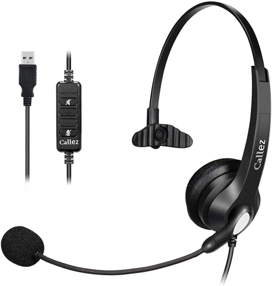 USB Headset Mono with Noise Cancelling Mic and Easy Controls, Callez Corded Computer Headphones for Business Skype UC Lync SoftPhone Call Center, Crystal Clear Calls, Super Comfort C500U3