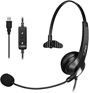 USB Headset Mono with NoiseCancelling Mic and Easy Controls, Callez Corded Computer Headphones for Business Skype UC Lync SoftPhone Call Center, Crystal Clear Calls, Super Comfort C500U3