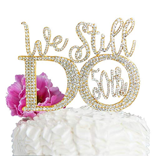 Lulu Sparkles LLC Gold 50th Anniversary Cake Topper We Still Do in Crystal Rhinestones Vow Renewal (Gold Tone_50th) ()