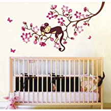 A Sleeping Baby Monkey on Cherry Blossom Tree Branch Nursery Wall Decor Baby Girl's Bedroom Wall Decal Kid's Room Sticker Removable Pink Baby Monkey Decal by walldecorer