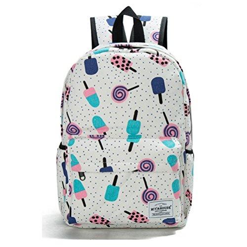 Las mujeres mochilas estampados florales lienzo Bookbags Mochila Mochila escolar para las niñas Mochila mochila de viaje femenina 1037f