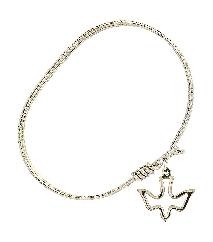 Holy Spirit Charm On A 6 1//4 Inch Oval Eye Hook Bangle Bracelet