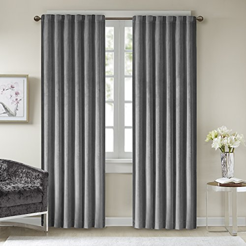 Wash Velvet Curtains - Comfort Spaces Poly Velvet Window Curtain Pair 4pc set - Dark Grey - 50x95 Inch Panel - Energy Efficient Saving - Curtain Rod Pocket - Include 2 Panels and 2 Tiebacks