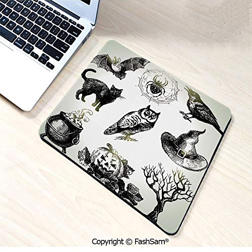 Personalized 3D Mouse Pad Halloween Related Pictures Drawn by Hand Raven Owl Spider Black Cat Decorative for Laptop Desktop(W7.8xL9.45)