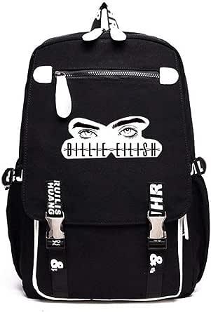 Flyself Billie Eilish Student Bag School Bag Kids School Backpack Dual Zipper Laptop Travelling Luggage For Women&Men
