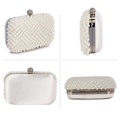 Handbag Beaded White Bridal Design Wedding Pearl Hardcase Evening Ladies 1 Womens Party Box Purse Rhinestone Prom Clutch Bag XSTqPRn