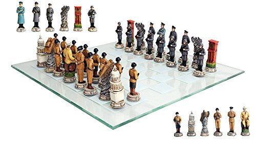 (Atlantic Collectibles World War Two Allied United States VS Axis Germany Resin Chess Pieces With Fine Glass Board Set)