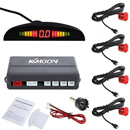KKmoon Detector de Radar Sistema de Aparcamiento con 4 Sensores de Coche (Rojo): Amazon.es: Coche y moto