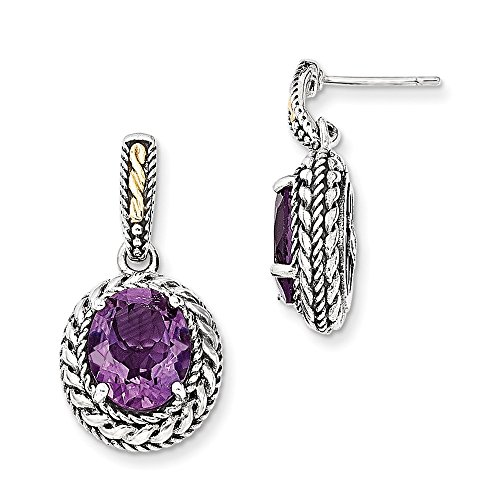 Sterling Silver w/14k Antiqued Amethyst Post Dangle Earrings by CoutureJewelers