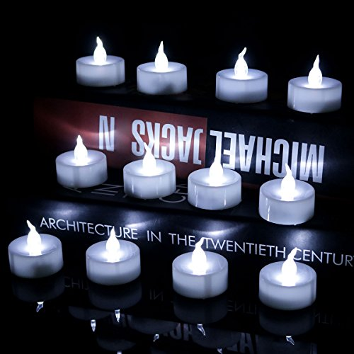 Youngerbaby 24pcs Cool White Flickering Timing Function Battery Operated LED Tea Lights Candles,Unscent Small Flameless Tealight Candles (6 Hrs on 18 Hrs Off) For Wedding, Party, Festival Decoration (Battery Operated Flickering Tea Lights)