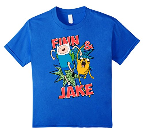 Kids CN Adventure Time Finn & Jake Kapows Graphic T-Shirt 10 Royal Blue (Youth Big T-shirt Time)