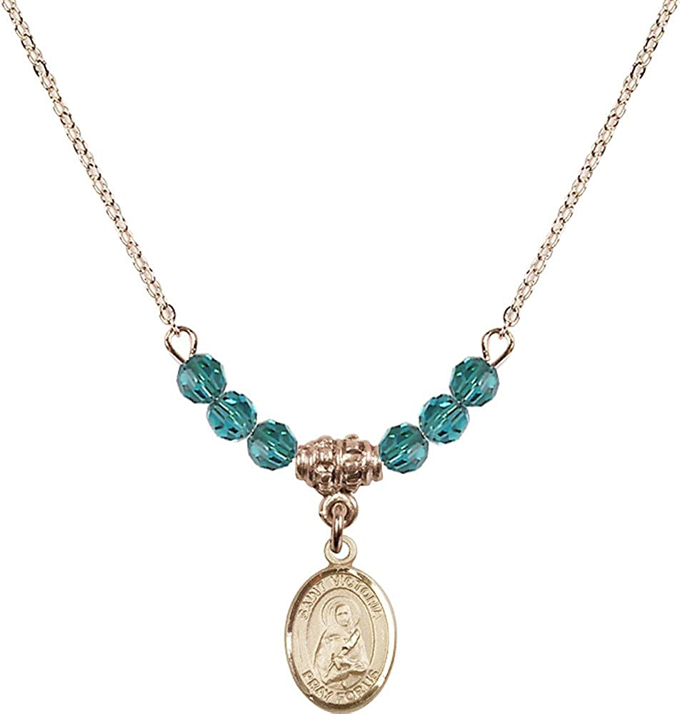 18-Inch Hamilton Gold Plated Necklace with 4mm Zircon Birthstone Beads and Gold Filled Saint Victoria Charm.