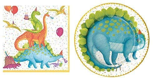 Entertaining with Caspari Partysaurus Cake Plates and Lunch Napkins for 16 -