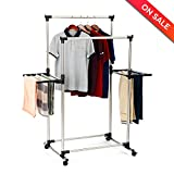 LCH Double Rods Garment Rack Adjustable Wings Shape Clothes Drying Rack with Foldable Airfoil-style Laundry Rack