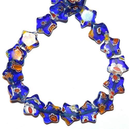Dark Blue 10mm Star Red White Yellow Flowers Millefiori Glass Beads 14#ID-3014