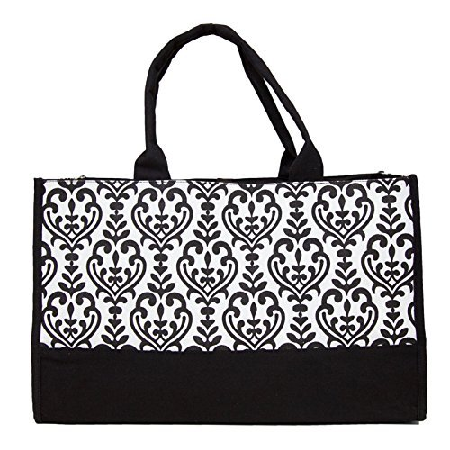 carolina-sweethearts-damask-open-tote-bag-large-black-and-white-with-tie-closure