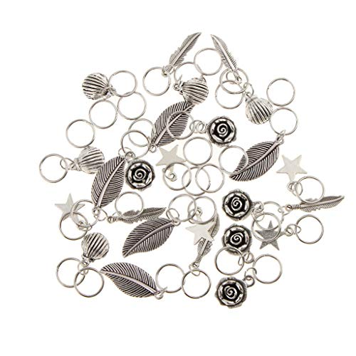 35pcs Mixed Flower Shell Feather Leaf Hair Ring Braid Rings Loops Hairband (Concord Telephone)
