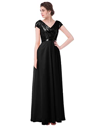 Dressyu Sequin Chiffon Bridesmaid Dress Cap Sleeve V Neck Long Prom Dresses Black US 2