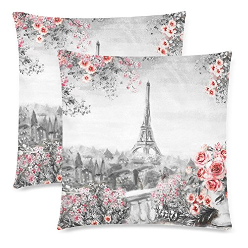 France Oil Painting (InterestPrint Oil Painting Summer in Paris Eiffel Tower Pillowcase 18x18 Twin Sides, France Landscape with Flower Rose Leaf Valentine's Gift Zippered Cushion Pillow Case Cover Decorative, Set of 2)