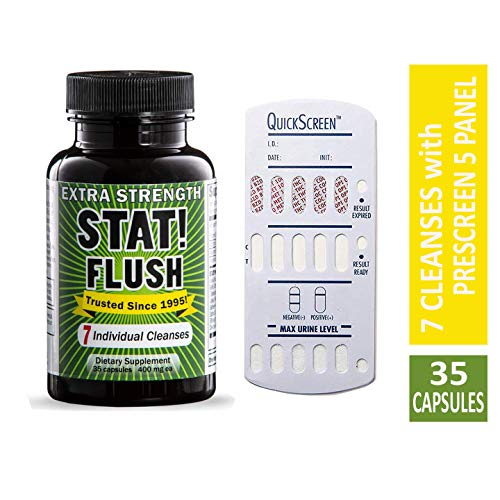 Stat Flush Value Size Emergency Detox - Pass Any Drug Test in 90 Minutes - 7 Full Cleanses (35 Capsules) with Prescreen 5 Panel (Best Product To Pass A Drug Test)