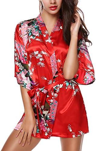 Avidlove Women s Kimono Robes Peacock and Blossoms Silk Nightwear Short  Style 6b780f128