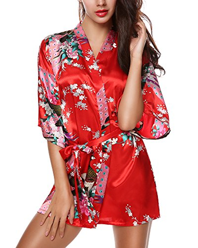 Avidlove Women's Kimono Robes Peacock and Blossoms Silk Nightwear Short Style M US 6 Red (Womens Red Kimono)